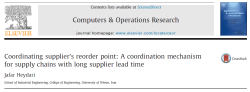 ترجمه شده هماهنگی نقطه سفارش مجدد تامین کننده: یک مکانیزم هماهنگی برای زنجیره تامین با زمان تحویل طولانی تامین کننده